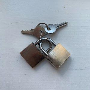 Vintage Storage & Organization - Set of two small steel padlocks & keys